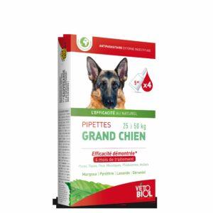 VETOBIOL Pipettes antiparasitaires grand chien (25 à 50kg) (4pipettes)