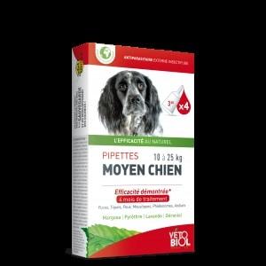 VETOBIOL Pipettes antiparasitaires moyen chien (10 à 25) (4pipettes)