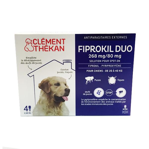 Fiprokil duo grand chien (20 à 40kg)  (4 pipettes)