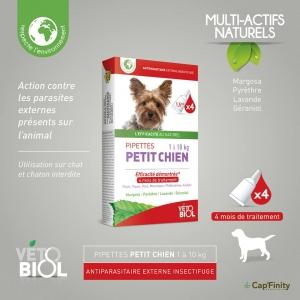 VETOBIOL Pipettes antiparasitaires petit chien (1 à 10kg) (4pipettes)