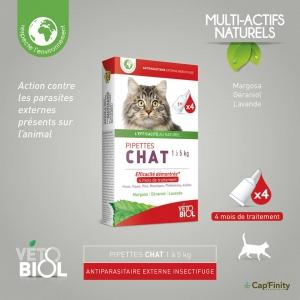 VETOBIOL Pipettes antiparasitaires chat (1 à 5kg) (4pipettes)