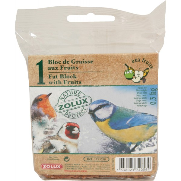 Zolux Bloc de Graisse aux Fruits Sans Filet 300g