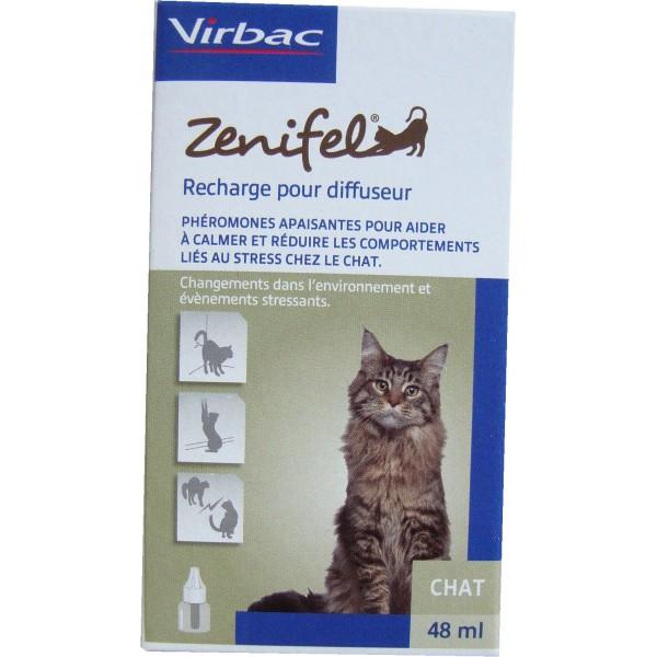 ZENIFEL Recharge- Recharge pour diffuseur de phéromones apaisantes réduisant le stress du chat 48mL