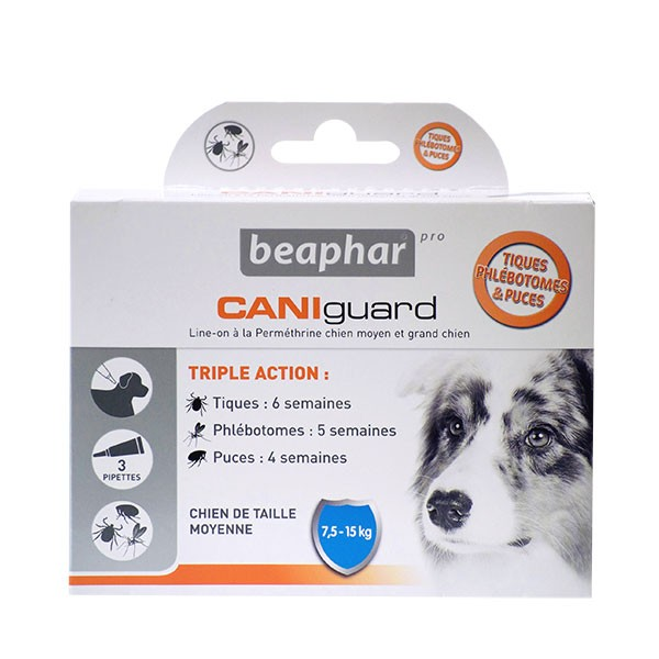 Beaphar Caniguard pipettes antiparasitaires chiens moyens (7,5-15 kg) (3 pipettes)
