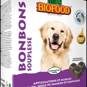 BIOFOOD - Bonbons souplesse des articulations chiens (40 bonbons)