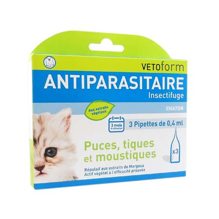 VETOFORM pipettes antiparasitaires chatons x3 pipettes