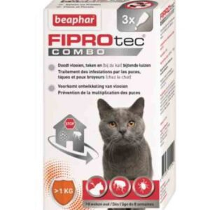 Beaphar - Fiprotec combo anti-puces et tiques chat 3 pipettes