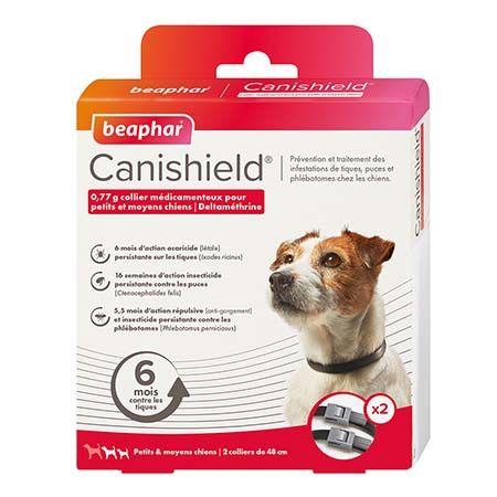 Canishield, collier chien contre les puces, tiques et moustiques (petits et moyens chiens)