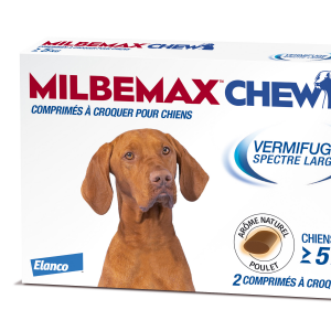 Milbemax Chew vermifuge pour chiens de plus de 5 kilos (2 comprimés)